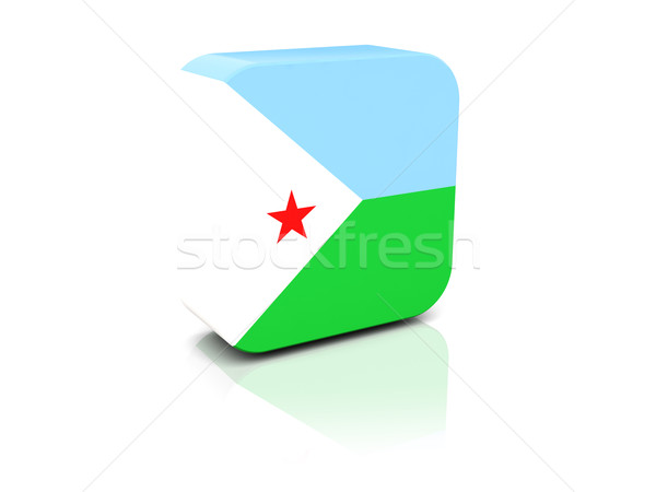 квадратный икона флаг Джибути отражение белый Сток-фото © MikhailMishchenko