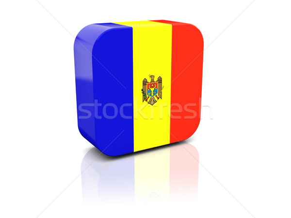 Tér ikon zászló Moldova tükröződés fehér Stock fotó © MikhailMishchenko