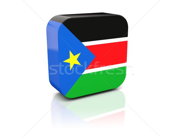 Placu ikona banderą południe Sudan refleksji Zdjęcia stock © MikhailMishchenko