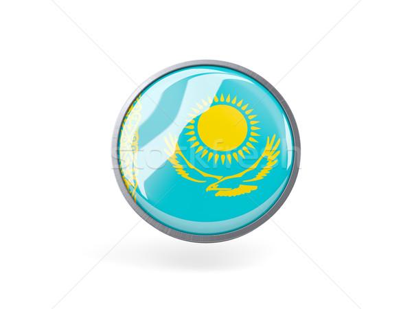 ícone bandeira Cazaquistão metal quadro viajar Foto stock © MikhailMishchenko