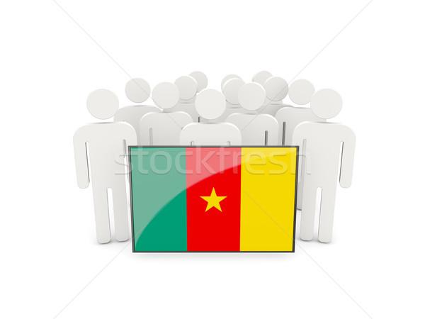 Ludzi banderą Kamerun odizolowany biały tłum Zdjęcia stock © MikhailMishchenko