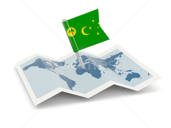 Map with flag of cocos islands Stock photo © MikhailMishchenko