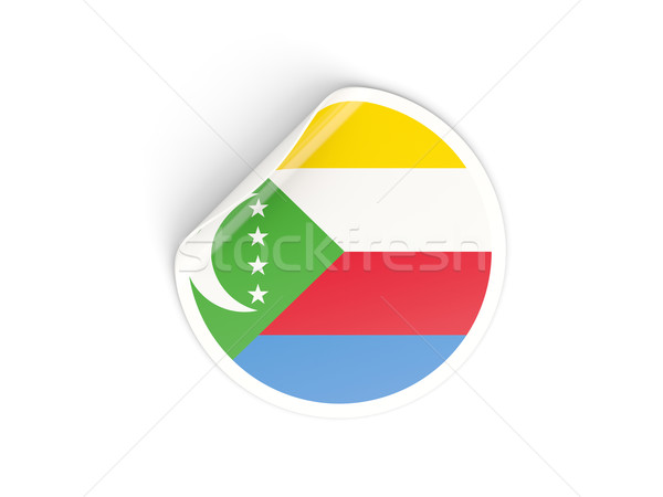 Round sticker with flag of comoros Stock photo © MikhailMishchenko