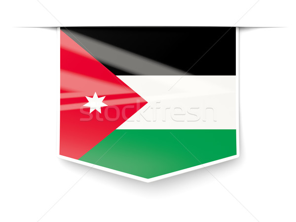 Vierkante label vlag Jordanië geïsoleerd witte Stockfoto © MikhailMishchenko