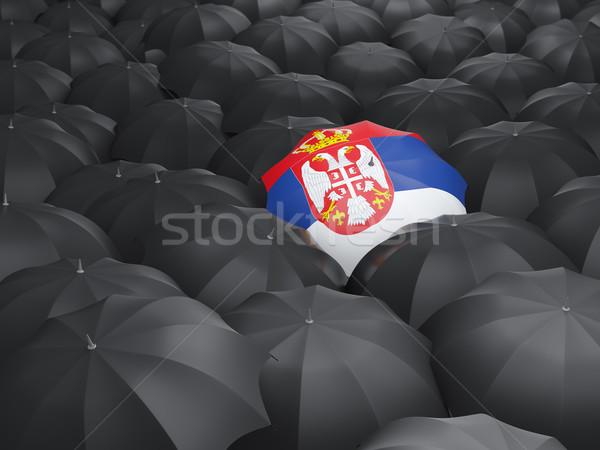 Parapluie pavillon Serbie noir parapluies Voyage Photo stock © MikhailMishchenko