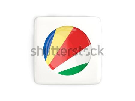 Matrica zászló Seychelle-szigetek izolált fehér utazás Stock fotó © MikhailMishchenko