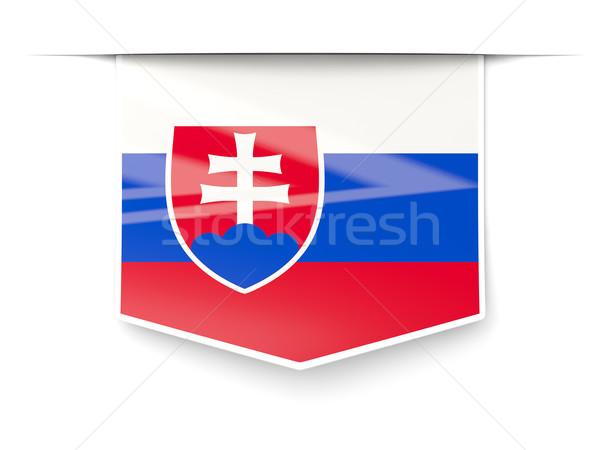 Piazza etichetta bandiera Slovacchia isolato bianco Foto d'archivio © MikhailMishchenko
