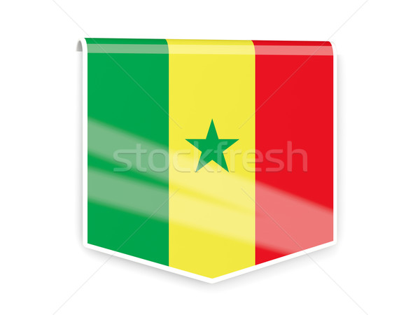 Zászló címke Szenegál izolált fehér világ Stock fotó © MikhailMishchenko