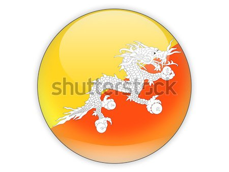 Icon vlag Bhutan glanzend teken witte Stockfoto © MikhailMishchenko