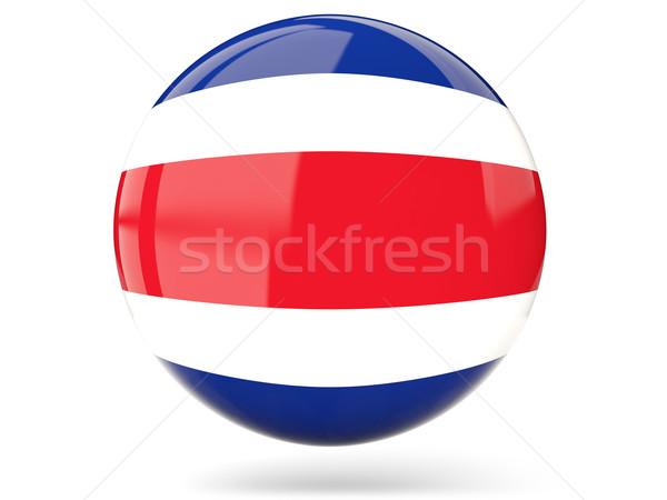 Ikon zászló Costa Rica fényes felirat fehér Stock fotó © MikhailMishchenko