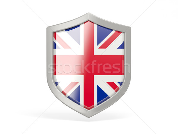 Pajzs ikon zászló Egyesült Királyság izolált fehér Stock fotó © MikhailMishchenko