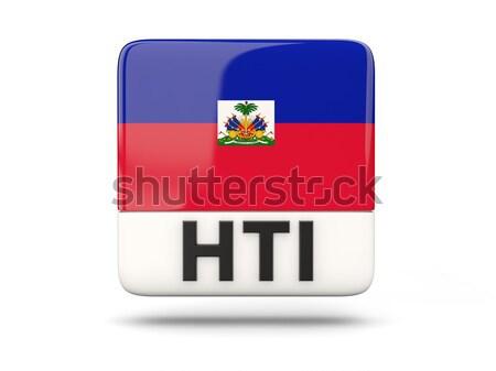 Carré icône pavillon Haïti iso code Photo stock © MikhailMishchenko