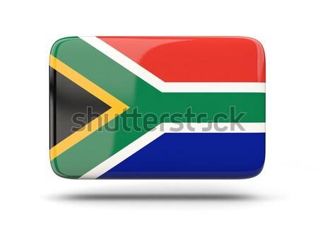 Vierkante icon vlag South Africa schaduw teken Stockfoto © MikhailMishchenko