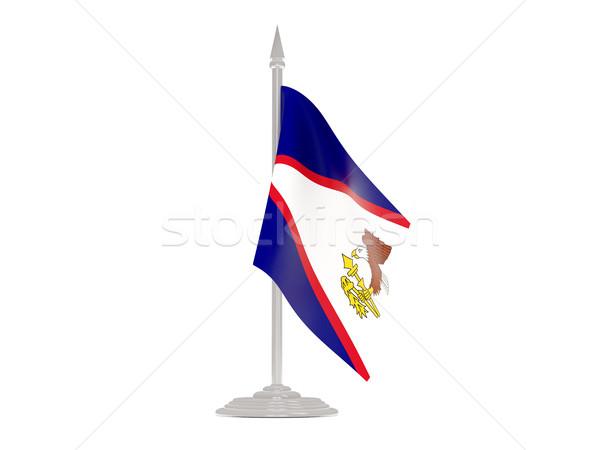 Banderą Samoa Amerykańskie maszt 3d odizolowany biały Zdjęcia stock © MikhailMishchenko