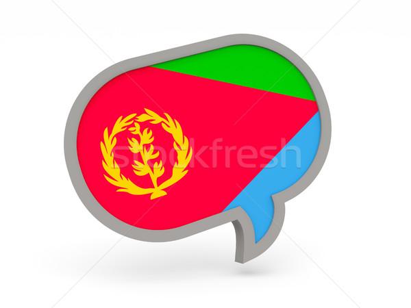 Chat ikona banderą Erytrea odizolowany biały Zdjęcia stock © MikhailMishchenko