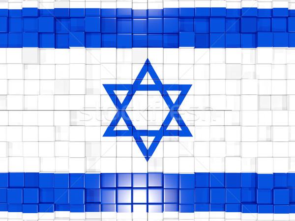 Tér alkatrészek zászló Izrael 3d illusztráció mozaik Stock fotó © MikhailMishchenko