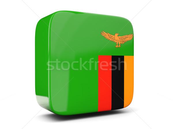 Kare ikon bayrak Zambiya 3d illustration yalıtılmış Stok fotoğraf © MikhailMishchenko