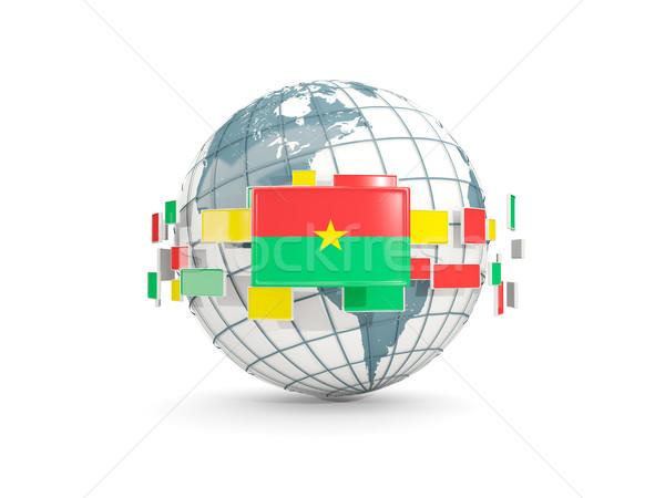 Globe with flag of burkina faso isolated on white Stock photo © MikhailMishchenko
