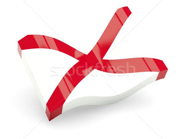 Bayrak dalga ikon yalıtılmış beyaz 3d illustration Stok fotoğraf © MikhailMishchenko