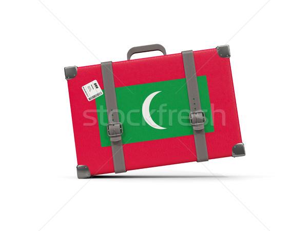 Сток-фото: Камера · флаг · Мальдивы · чемодан · изолированный · белый