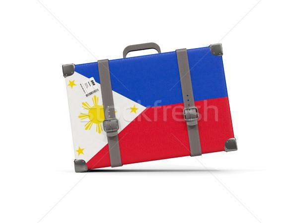 Luggage with flag of philippines. Suitcase isolated on white Stock photo © MikhailMishchenko