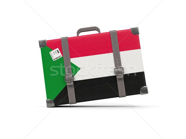 Bagażu banderą Sudan walizkę odizolowany biały Zdjęcia stock © MikhailMishchenko