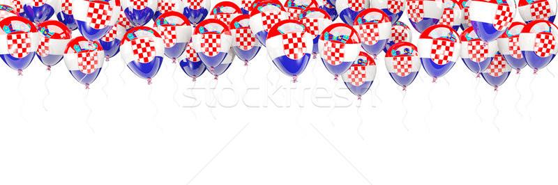 Léggömbök keret zászló Horvátország izolált fehér Stock fotó © MikhailMishchenko