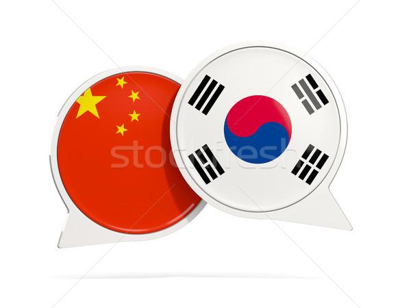 чате пузырьки Китай Южная Корея изолированный белый Сток-фото © MikhailMishchenko