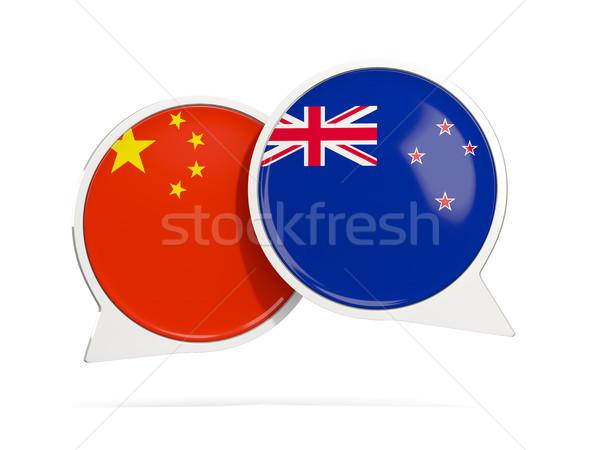 Chat burbujas China Nueva Zelandia aislado blanco Foto stock © MikhailMishchenko