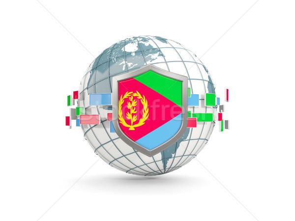 świecie tarcza banderą Erytrea odizolowany biały Zdjęcia stock © MikhailMishchenko