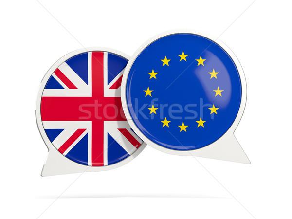 Chat bubbles of UK and EU isolated on white Stock photo © MikhailMishchenko