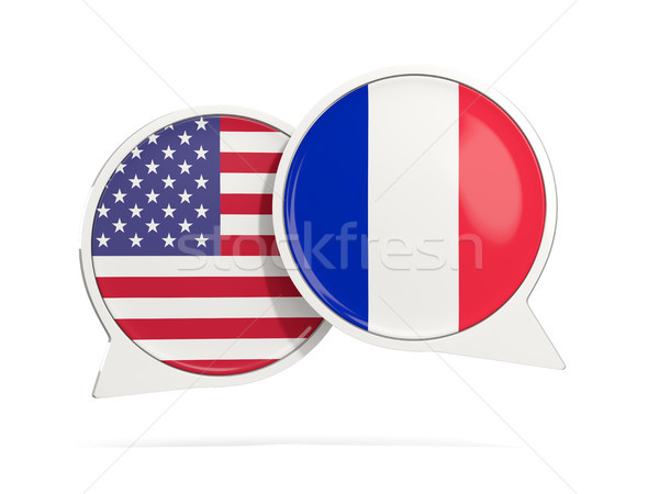 Stock photo: Chat bubbles of USA and France isolated on white