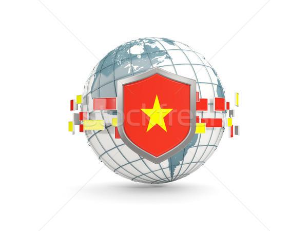 Monde bouclier pavillon Viêt-Nam isolé blanche Photo stock © MikhailMishchenko