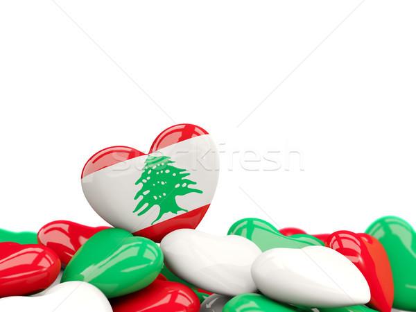 Szív zászló Libanon felső szívek izolált Stock fotó © MikhailMishchenko