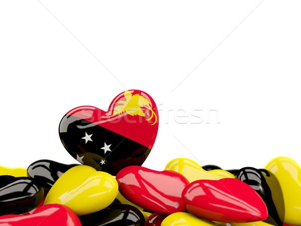 сердце флаг Папуа-Новая Гвинея Top сердцах изолированный Сток-фото © MikhailMishchenko