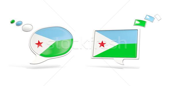 Dwa chat ikona banderą Dżibuti placu Zdjęcia stock © MikhailMishchenko
