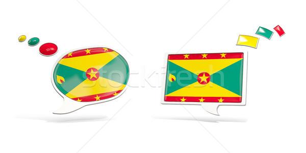 Dos chat iconos bandera Granada cuadrados Foto stock © MikhailMishchenko