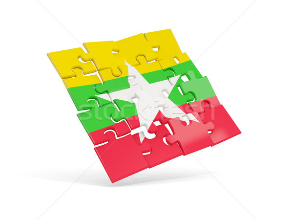 головоломки флаг Мьянма изолированный белый 3d иллюстрации Сток-фото © MikhailMishchenko
