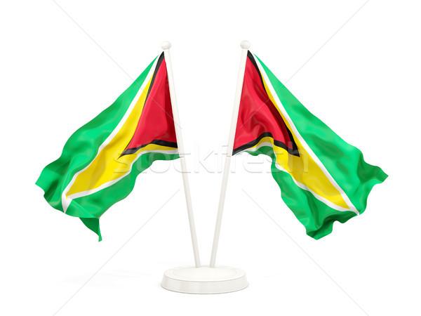 Kettő integet zászlók Guyana izolált fehér Stock fotó © MikhailMishchenko