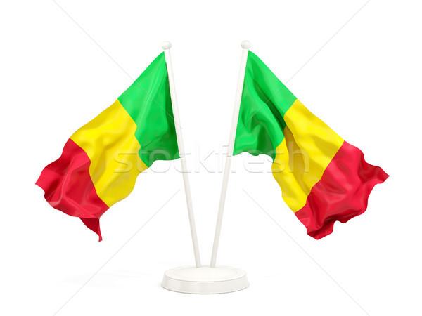 два флагами Мали изолированный белый Сток-фото © MikhailMishchenko