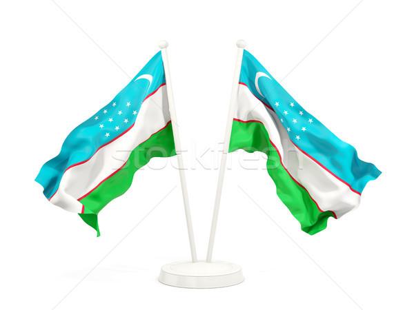 Kettő integet zászlók Üzbegisztán izolált fehér Stock fotó © MikhailMishchenko