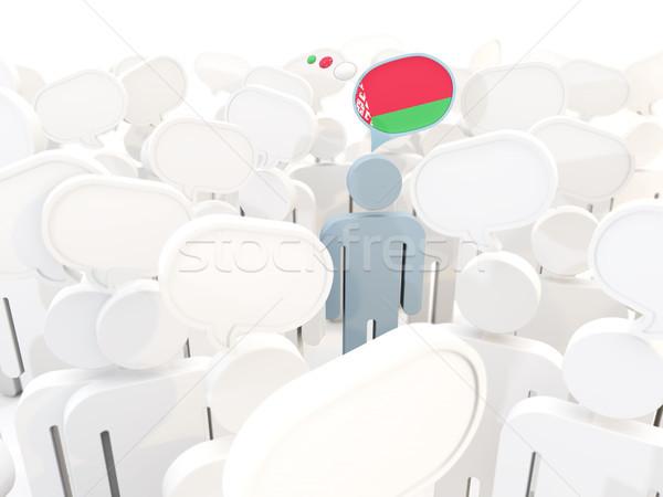 Man vlag Wit-Rusland menigte 3d illustration teken Stockfoto © MikhailMishchenko