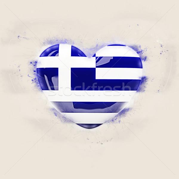 Coração bandeira Grécia grunge ilustração 3d amor Foto stock © MikhailMishchenko