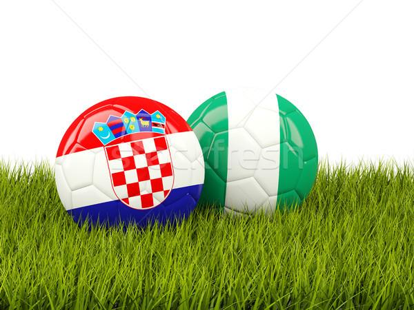 Horvátország vs Nigéria futball zászlók zöld fű Stock fotó © MikhailMishchenko