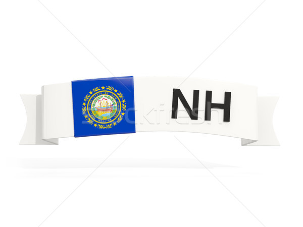 new hampshire state flag on banner with postal abbreviation isol Stock photo © MikhailMishchenko