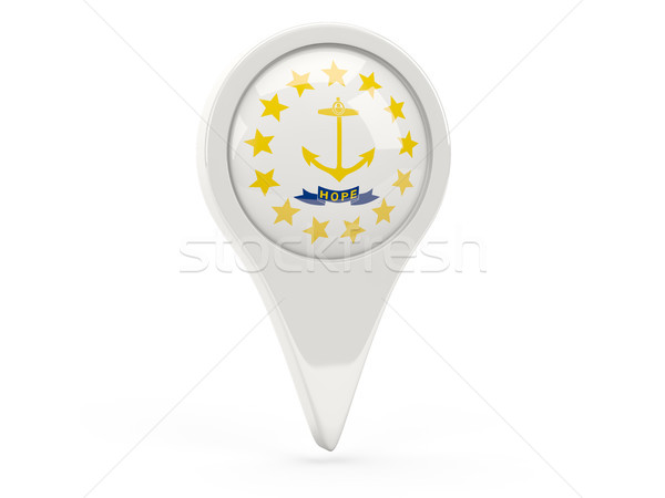 Round flag pin with flag of rhode island. United states local fl Stock photo © MikhailMishchenko
