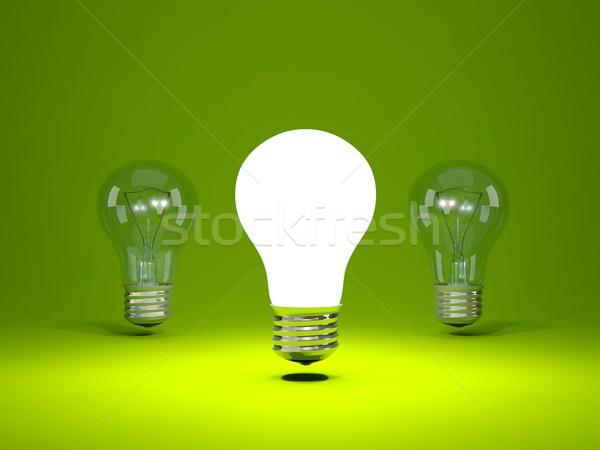 Villanykörte zöld technológia energia elektromos villanykörte Stock fotó © MikhailMishchenko