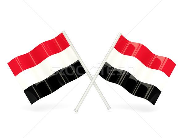 Bandeira Iémen dois ondulado bandeiras isolado Foto stock © MikhailMishchenko