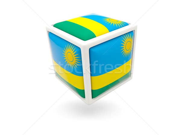 Pavillon Rwanda cube icône isolé blanche Photo stock © MikhailMishchenko