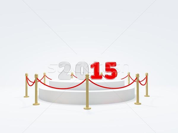 2015 Новый год символ подиум изолированный белый Сток-фото © MikhailMishchenko